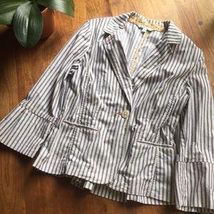 CAbi Ticking Stripe Lightweight Blazer Size 10